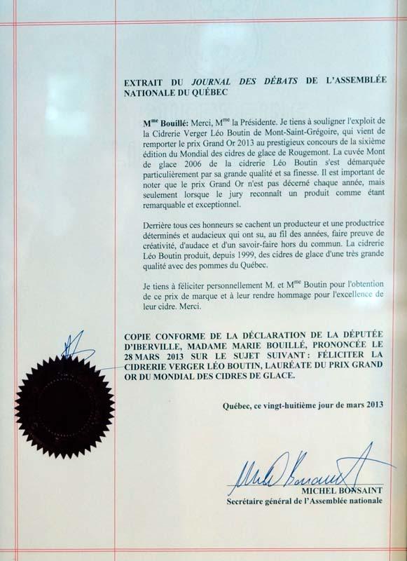 Déclaration député Iberville à assnat cidrerie Boutin